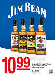 Jim Beam Kentucky Straight Bourbon Whiskey Original, Red Stag | 40% Vol.Apple, Honey | 35% Vol.
