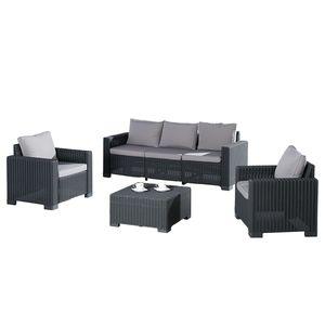 Sitzgruppe Mombasa (4-teilig) - Webstoff / Kunststoff - Graphit / Hellgrau, Best Freizeitmöbel