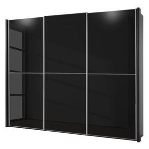 Schwebetürenschrank Rimini - Glas Schwarz - 280 cm (2-türig), Wiemann