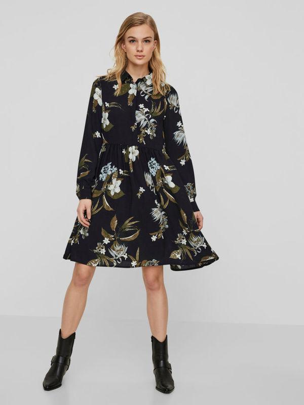 blumen kleid mit langen Ärmeln von vero moda ansehen!