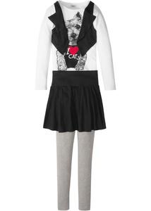 Shirt-Weste + Rock + Leggings (3-tlg.)