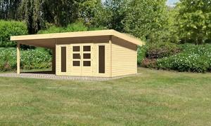 """Woodfeeling Gartenhaus """"Bentheim 5"""" mit Anbaudach und Dacheindeckung naturbelassen"""