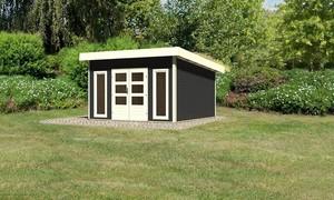"""Woodfeeling Gartenhaus """"Bentheim 5"""" mit Dacheindeckung opalgrau"""