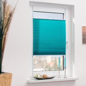 Lichtblick Plissee Klemmfix, ohne Bohren, verspannt - Blau, 110 cm x 130 cm (B x L)