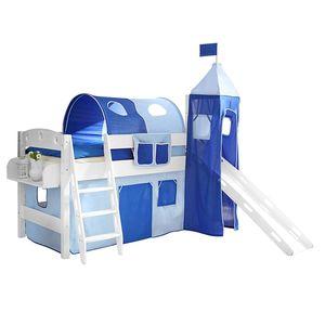 Spielbett Kenny - Massivholz Kiefer - Inklusive Rutsche, Turm & Textilset - Weiß lackiert - Hellblau / Dunkelblau, Ticaa