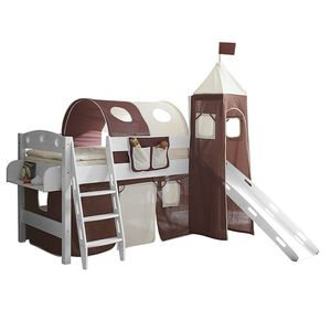 Spielbett Kenny - Massivholz Kiefer - Inklusive Rutsche, Turm & Textilset - Weiß lackiert - Braun / Beige, Ticaa