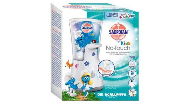SAGROTAN Kids No-Touch Automatischer Seifenspender für Kinder inkl. Nachfüller Entdeckerpower und Sticker, Flüssige Handseife