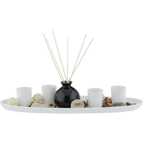 Teelichtschale Evelin in Natur/Schwarz/Weiß