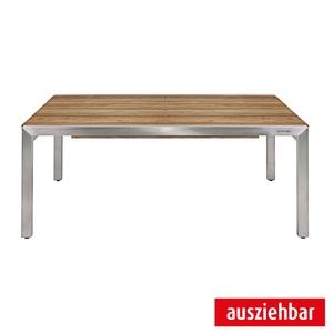 ZEBRA ausziehbarer Tisch KUBEX Edelstahl/Teak
