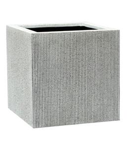 Dehner Polystone-Topf, quadratisch, grau