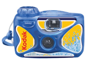 KODAK Water and Sports 27 Wasserdichte Einwegkamera, Blau, Gelb