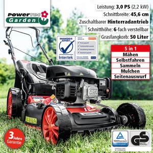 Powertec Garden Benzin-Rasenmäher Eco Wheeler 460/5in1 R
