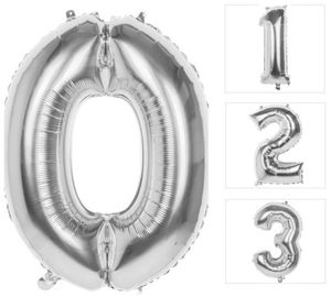 Folienballon - Silberne Zahl - 0 bis 9