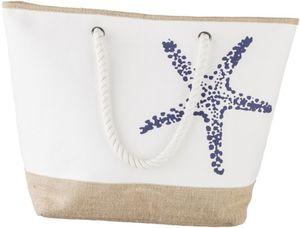 Strandtasche - Seestern - aus Textil - 36 x 36 x 20 cm
