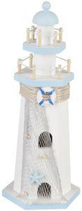 Deko-Leuchtturm - aus Holz - 10 x 10 x 28,5 cm