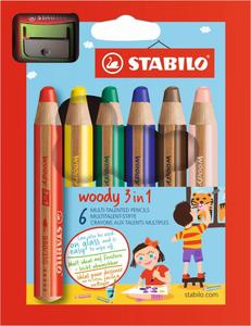 STABILO 6er-Pack 3in1 Multitalent-Stifte woody