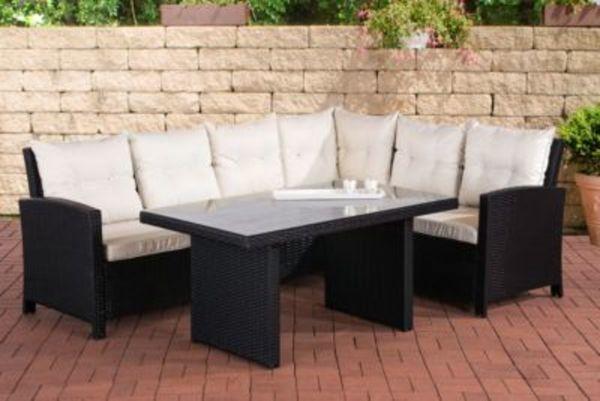 Poly Rattan Garten Essgruppe MIRANDA, Eckbank + Hoher Ess Tisch 140 X 80  Cm, 6 Sitzplätze, Farbwahl, Mit Bequemen Polstern