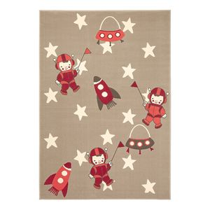Kinderteppich Astronaut - Kunstfaser - Beige / Rot, Zala Living