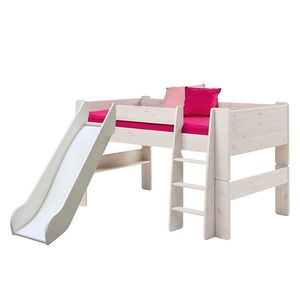 Halbhochbett Steens for Kids (mit Rutsche) - Kiefer massiv - White Wash, Steens