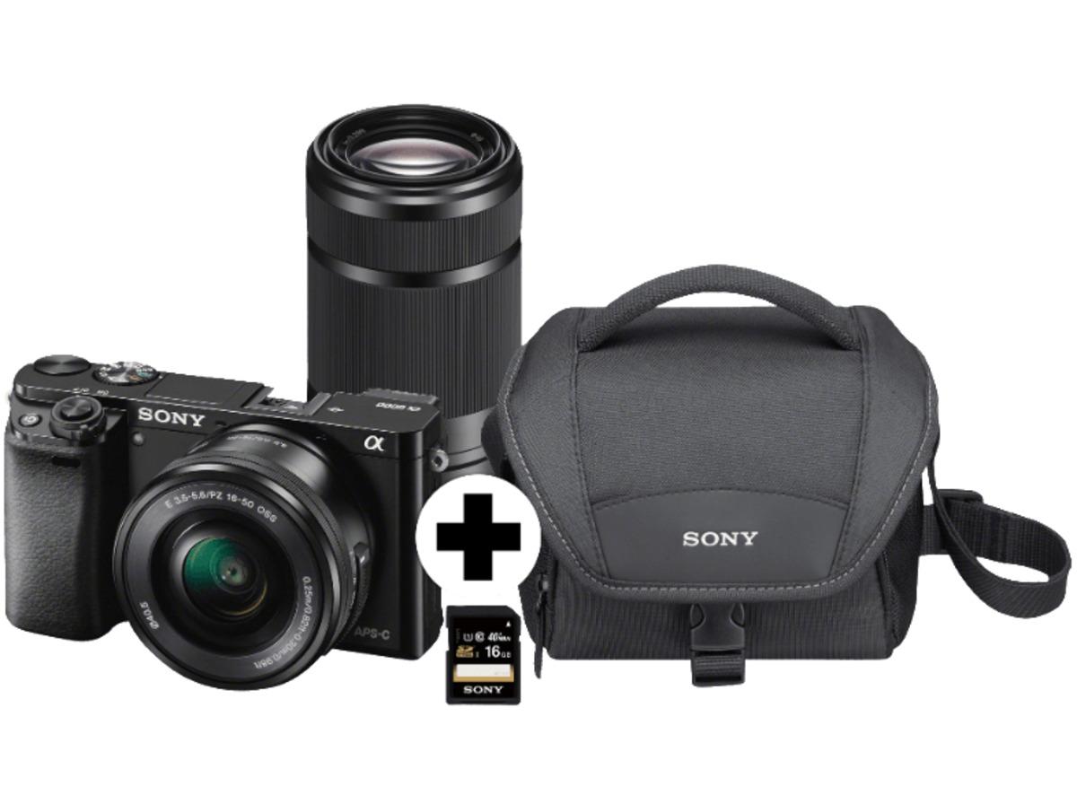 Bild 1 von SONY Alpha 6000 Kit Systemkamera, 24.7 Megapixel, 2x opt. Zoom, Full HD, Exmor APS-C Sensor, Externer Blitzschuh, Near Field Communication, WLAN, 16-50 mm, 55-210 mm Objektiv, Autofokus, Schwarz