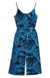 Blauer Jumpsuit mit Palmwedel-Print