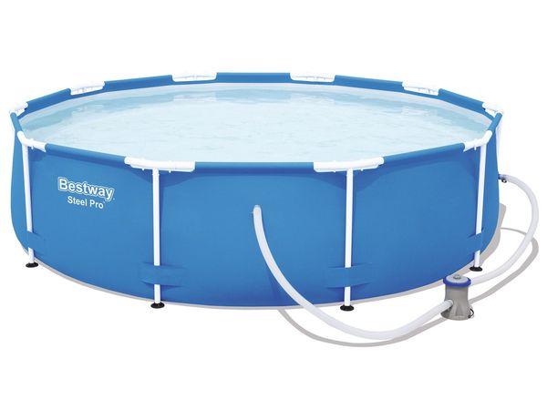 Bestway Steel Pro Pool Set, Stahlrahmenpool mit Filterpumpe