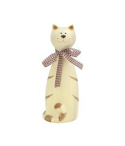 Dehner Polyresin-Zaunfigur Katze, beige/braun