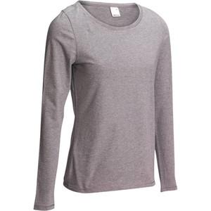 DOMYOS Langarmshirt 100 Gym Damen grau meliert, Größe: XS