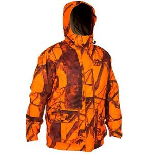 SOLOGNAC Regenjacke T300 wasserdichter Jagdparka Tarnung camouflage orange Treibjagd, Größe: 3XL
