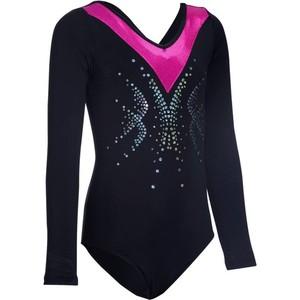 DOMYOS Gymnastikanzug Sequins Pailletten Langarm Kinder schwarz/rosa, Größe: 6 J. - Gr. 116