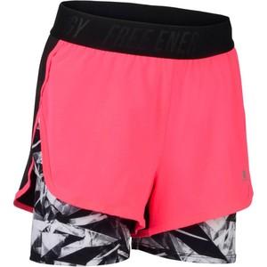 DOMYOS Sporthose kurz Gym Kinder schwarz/rosa mit Print, Größe: 6 J. - Gr. 116