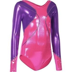 DOMYOS Gymnastikanzug Turnanzug Langarm Lign+ Kinder rosa/violett, Größe: 6 J. - Gr. 116
