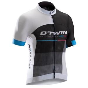 B´TWIN Kurzarm-Radtrikot Rennrad 900 Mesh Herren weiß/schwarz/blau, Größe: L