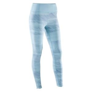 DOMYOS Leggings Yoga+ atmungsaktiv Damen himmelbau mit Aufdruck, Größe: 2XS / W26 L28