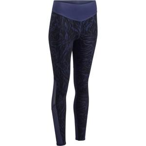 DOMYOS Leggings 900 Fitness Cardio Damen Druckmuster blau, Größe: 2XS / W26 L31