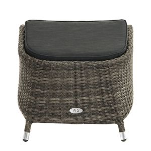 Hocker Rocking I - Polyrattan / Webstoff - Graubraun / Anthrazit, Ploß