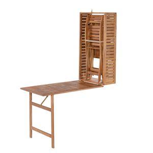 Balkonmöbelset Serena (5-teilig) - Akazie massiv - Akazie / Beige, Garden Pleasure