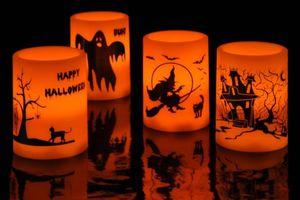 LED-Kerze - Halloween - mit Echtwachs - 7,5 x 10 cm - 1 Stück
