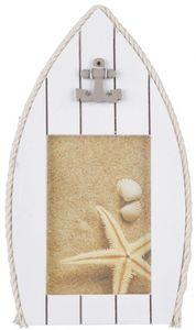 Bilderrahmen - Boot - aus Holz - 16,5 x 1 x 27,5 cm - weiß