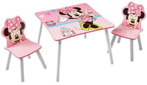 Holz Kinder-Sitzgruppe - Minnie Mouse - Tisch ca. 63 x 63 x 45 cm, Stühle ca. 29,5 x 29 x 52,5 cm
