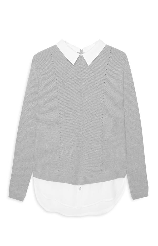 Graues Oberteil aus Hemd und Pullover von Primark ansehen ... f700b72a2e