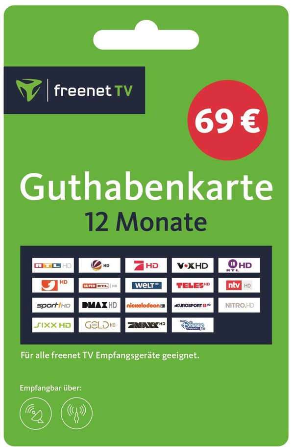 FREENET TV Guthabenkarte 12 Monate