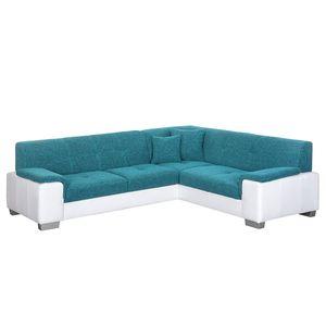 Ecksofa Picton (mit Schlaffunktion) Kunstleder / Strukturstoff Weiß / Blau - Schlaffunktion davorstehend links, roomscape