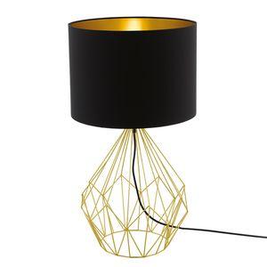 EEK A++, Tischleuchte Pedregal - Webstoff / Stahl - 1-flammig - Schwarz / Gold, Eglo