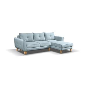Polsterecke LARSSON Stoffbezug Blau/Grau ca. 252 x 165 cm