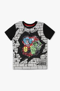 Disney Boys         Marvel - Kurzarmshirt - Glanz Effekt