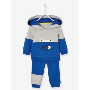 VERTBAUDET   Kapuzensweatshirt und Hose Baby Jungen grau meliert/blau