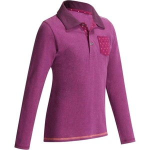 FOUGANZA Reit-Poloshirt Langarm Kinder lila, Größe: 6 J. - Gr. 116