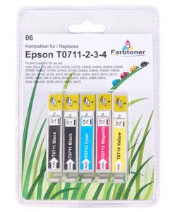 Tintenpatronen Epson T0711-2-3-4 - Ersatzpatronen - 5-tlg. Set
