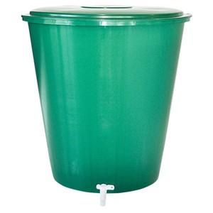 Regentonne 210 Liter aus Kunststoff grün mit Deckel